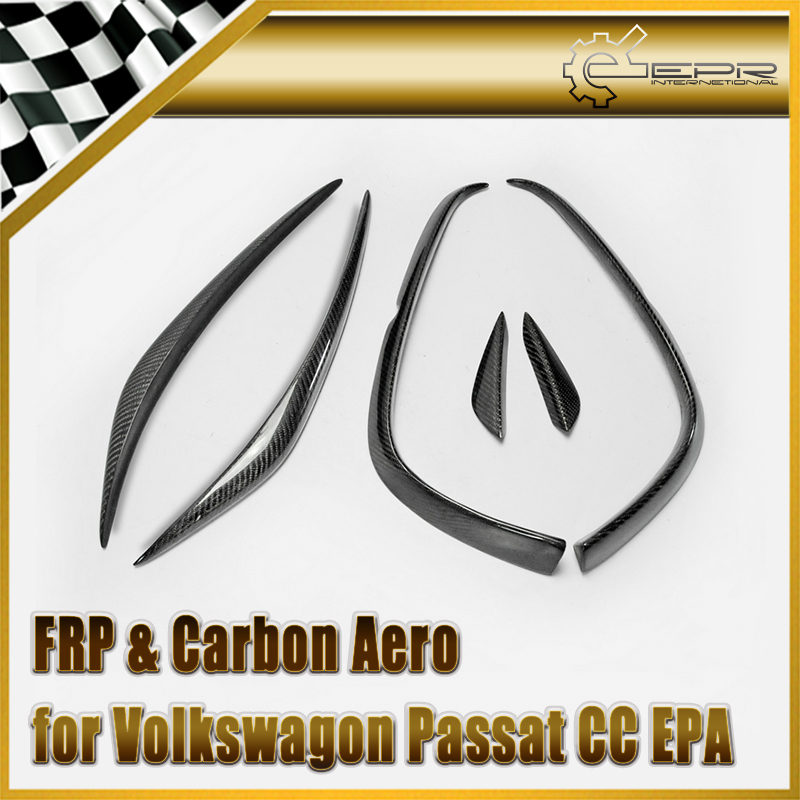Car styling 2009 2012 Passat CC EPA Carbon Fiber Front Bumper Canard Glossy Fibre Exterior Trim Racing Auto Body Kit Accessories