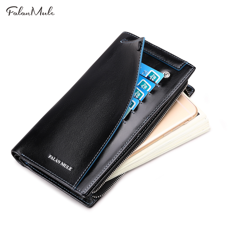 цена FALAN MULE Hot Sale Vintage Wallet Brand Men Purse Genuine Leather Wallet Men Male Wallet Fashion Purse Coin Purse For iPhone 7S онлайн в 2017 году