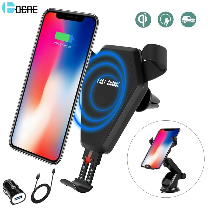 DCAE Car Qi Wireless Charger For iPhone X 8 XS Max XR