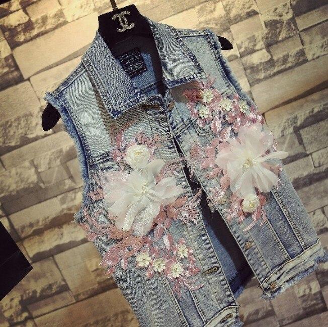 2018 été nouvelle mode femmes fleur brodé Denim gilet veste femmes étudiants loisirs Denim gilet Outwear