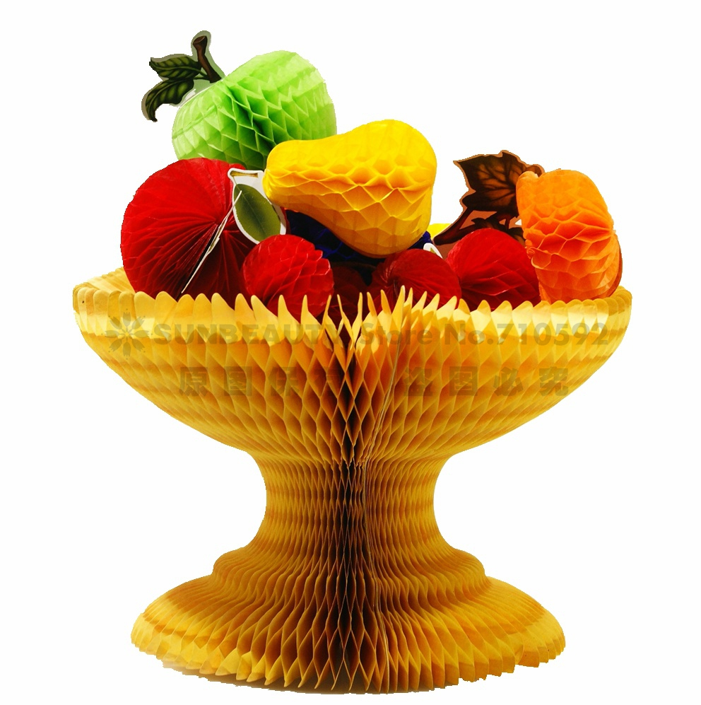 Vintage Assorted Paper Fruit Honeycomb Decoration Kit Festive Fruity