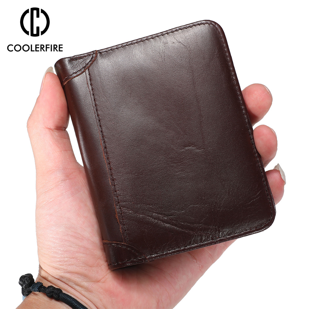 Purse For Men Genuine Leather Men's Wallets Thin Male Wallet Card Holder Cowskin Soft Mini Purses  PJ001
