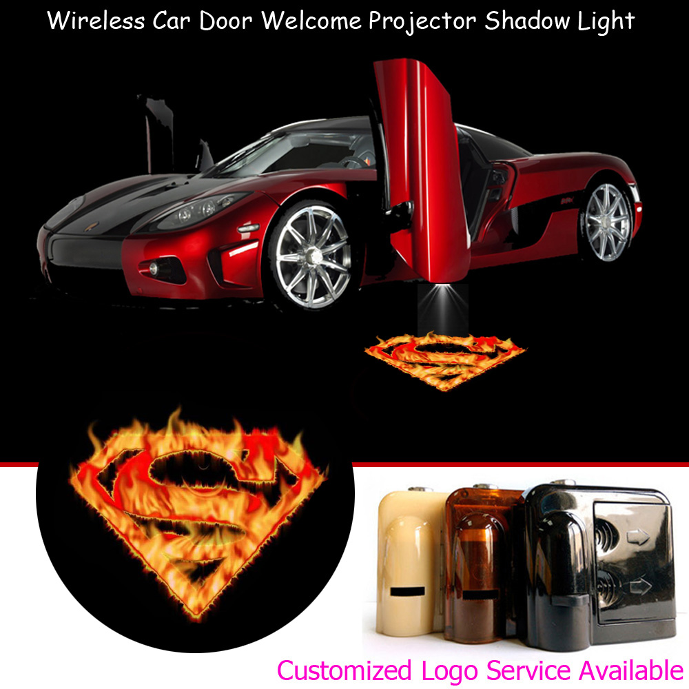 2x Flaming Superman Logo Car Door Step Courtesy Welcome Laser Projector Wireless Puddle Ghost Shadow LED Lights