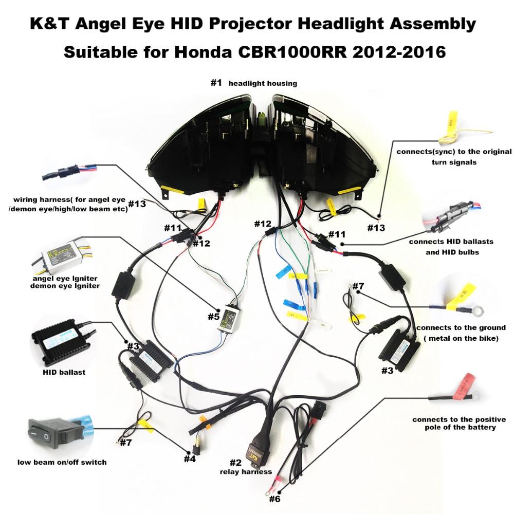 medium resolution of kt headlight suitable for honda cbr1000rr 2012 2016 led angel eye blue demon eye motorcycle hid