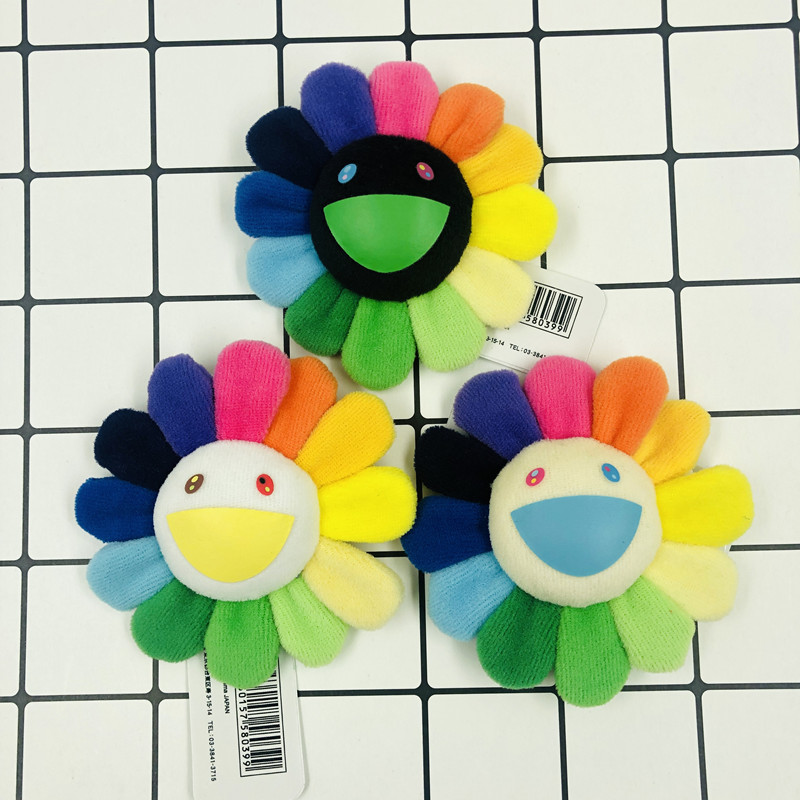 8CM Rainbow Flower Plush Brooch Pin Badge Doll KaikaiKiki Sunflower Pendant For Kids Sunflower Stuffed Toys Decora Gifts