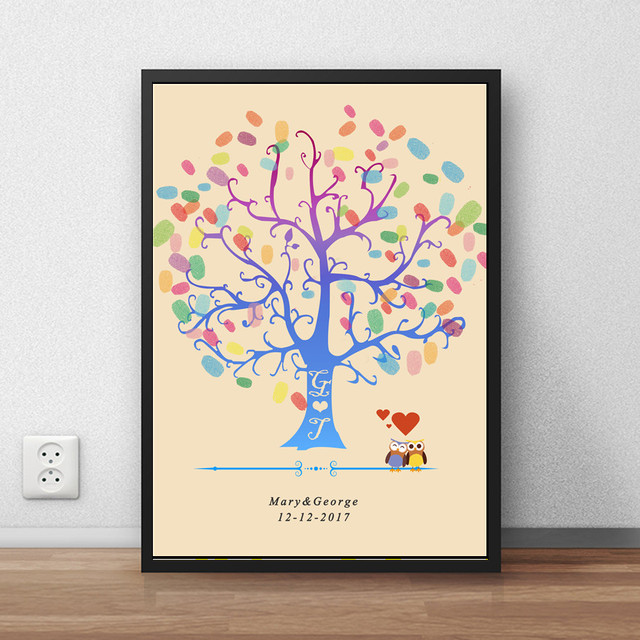 Umbrella couple Fingerprint Tree Signature Canvas Print Wedding Tree ...