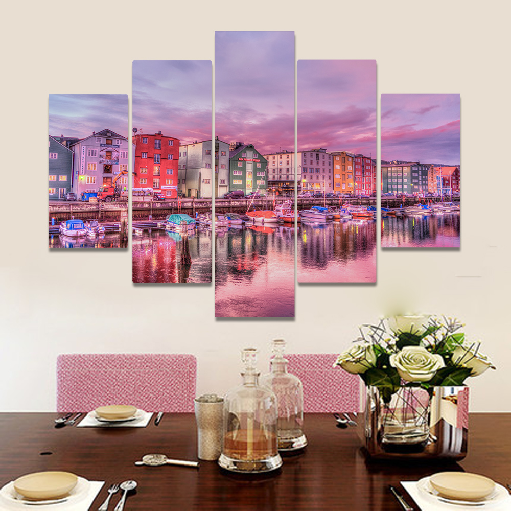 Unframed Canvas Painting Fantasy Town Purple Sky Houses Creek Picture Prints Wall Picture For Living Room Wall Art Decoration