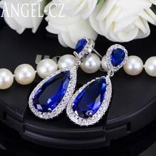 Здесь можно купить  Luxury Royal Blue Stone Earring Water Drop Cubic Zirconia Bridal Long Earrings For Women Wedding Party Jewelry AE011