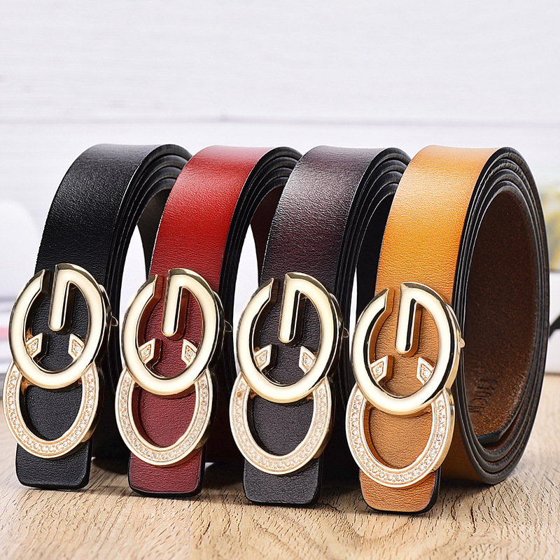 Women's buckle double gold buckle jeans wild   belt   women's fashion dress wild   belt   simple new round pin buckle   belt