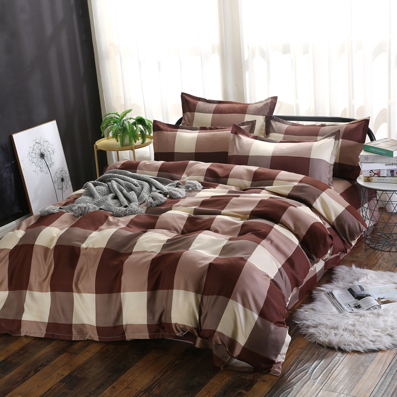 3/4pcs Twin/Queen Size Bedding Sets Duvet Cover Sets Pillowcases Flat sheet Simple design Coffee Colored lattices 3/4pcs Twin/Queen Size Bedding Sets Duvet Cover Sets Pillowcases Flat sheet Simple design Coffee Colored lattices