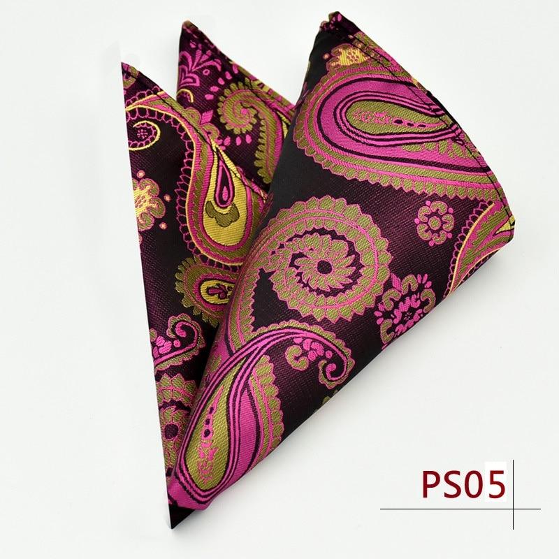 Paisley Floral Men Silk Satin Pocket Square Hanky Jacquard Woven Classic Wedding Party Handkerchief