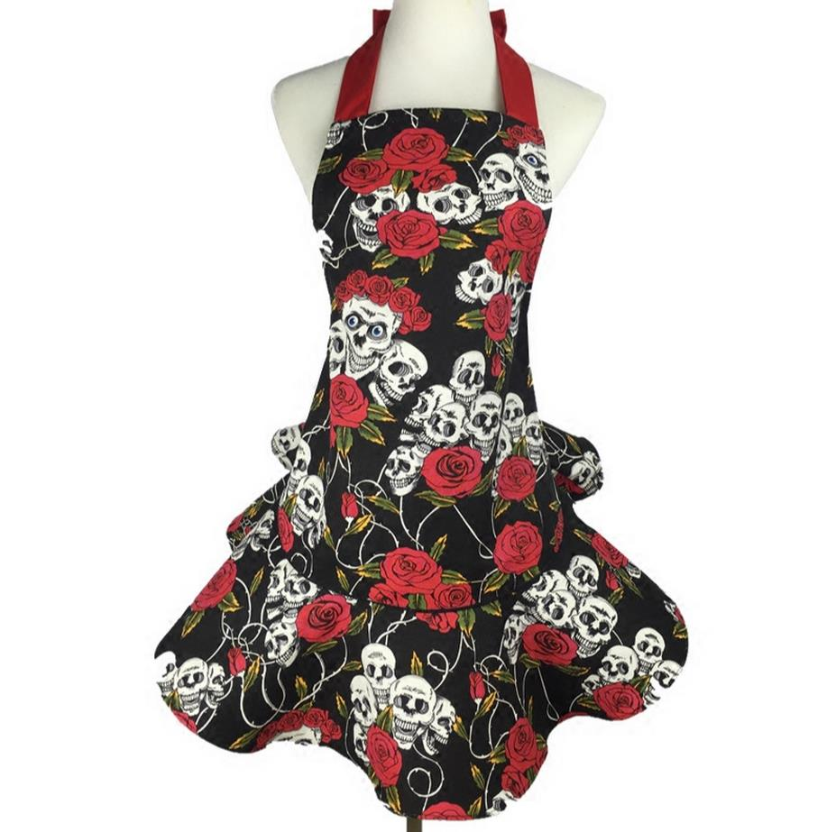 Blue apron restaurant - Cotton Canvas Rose Ghost Skull Printing Halloween Restaurant Sky Blue Nail Beauty Apron And Free Shipping