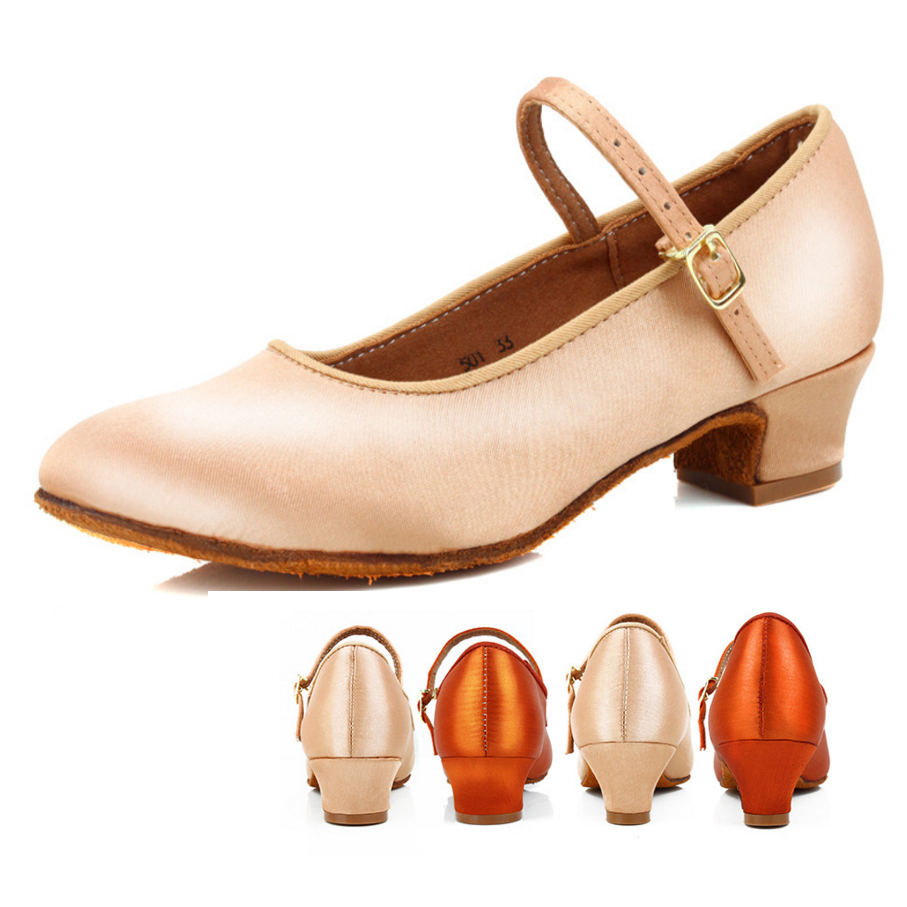 GroßZüGig Kinder Satin Professional Latin Dance Schuhe Moderne Schuhe Mädchen Niedrigen Ferse Tanzen Schuhe Closed Toe Walzer Tango Salsa Schuhe Einfach Und Leicht Zu Handhaben