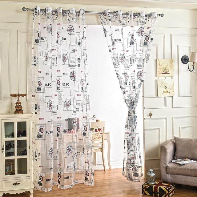 2017 stile americano stampato tulle tende per il salone traslucido ...