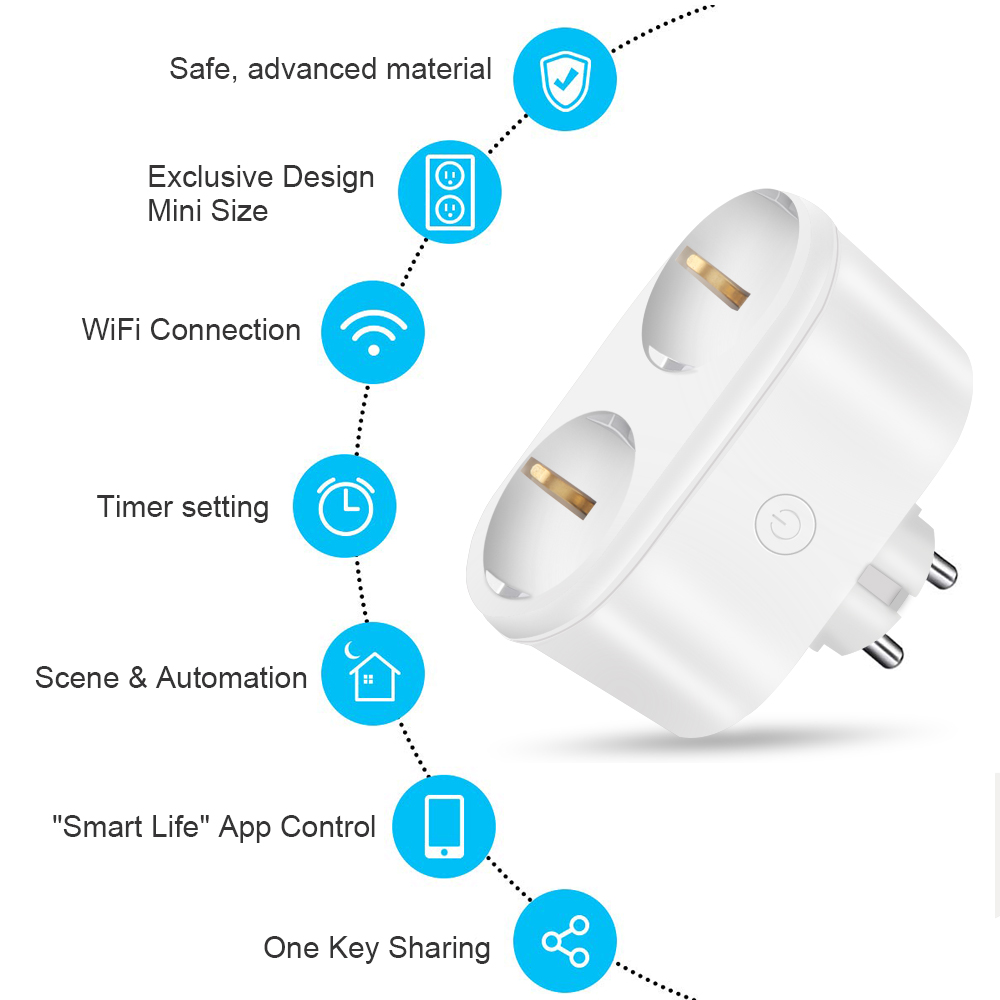 220V WIFI Light Switch 2 in1 EU Standard Mini Smart Socket Remote Control Switch For Smart Life App Alexa Echo Google Home in Switches from Lights Lighting