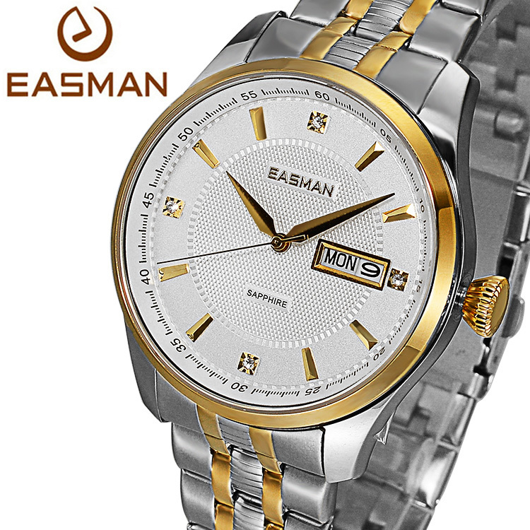 EASMAN Brand Mens Wristwatch Gold Designer White Business Sapphire Luxury Solid Strap Clock Men Wristwatch Quartz