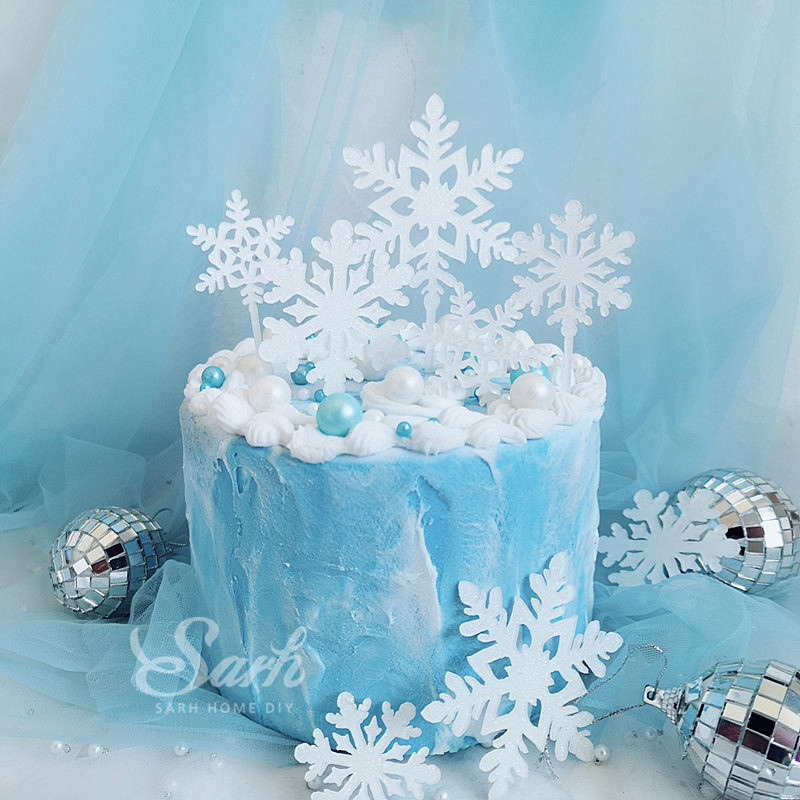 Swell Romantic White Silver Snowflake Collection Cake Topper Dessert Funny Birthday Cards Online Alyptdamsfinfo