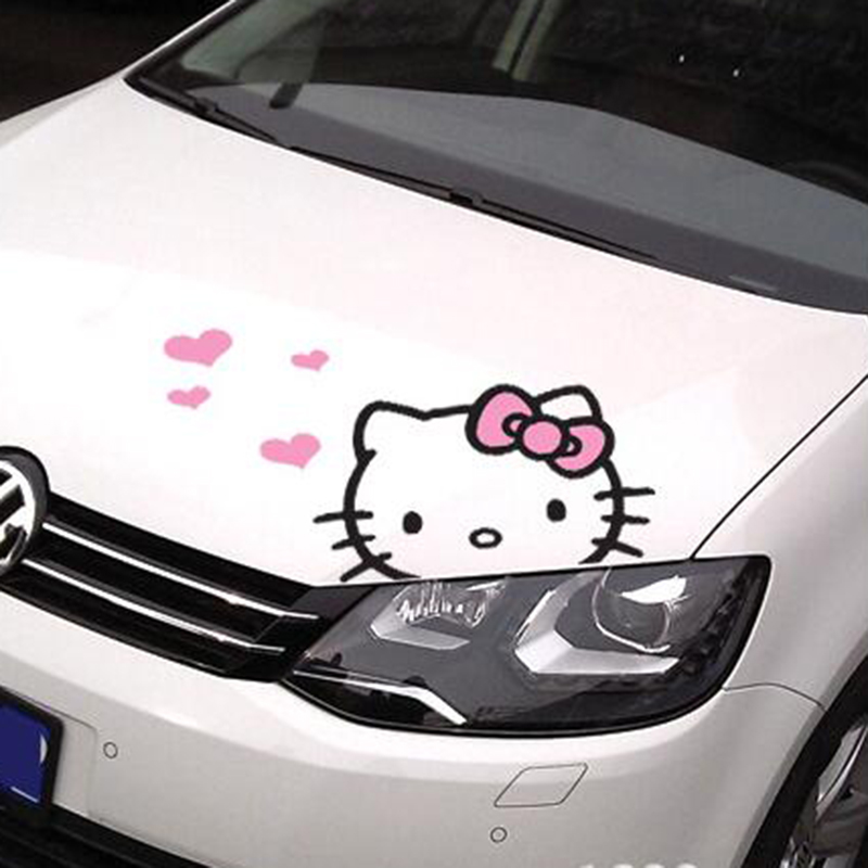 Cute dibujos animados Hello Kitty Engine Cover Car Body Sticker