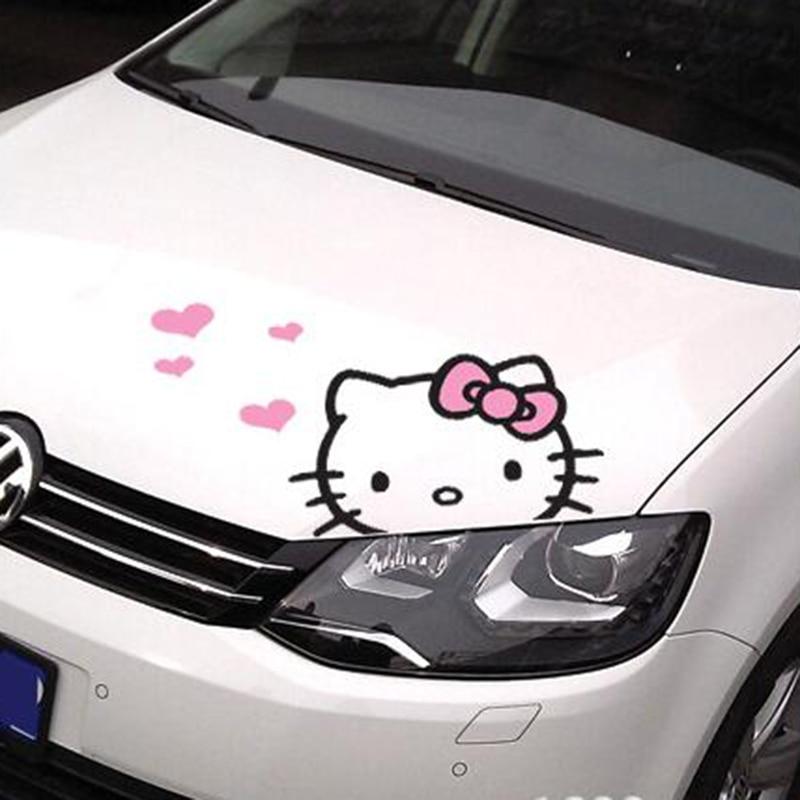 Cute Cartoon Hello Kitty font b Engine b font Cover font b Car b font Body