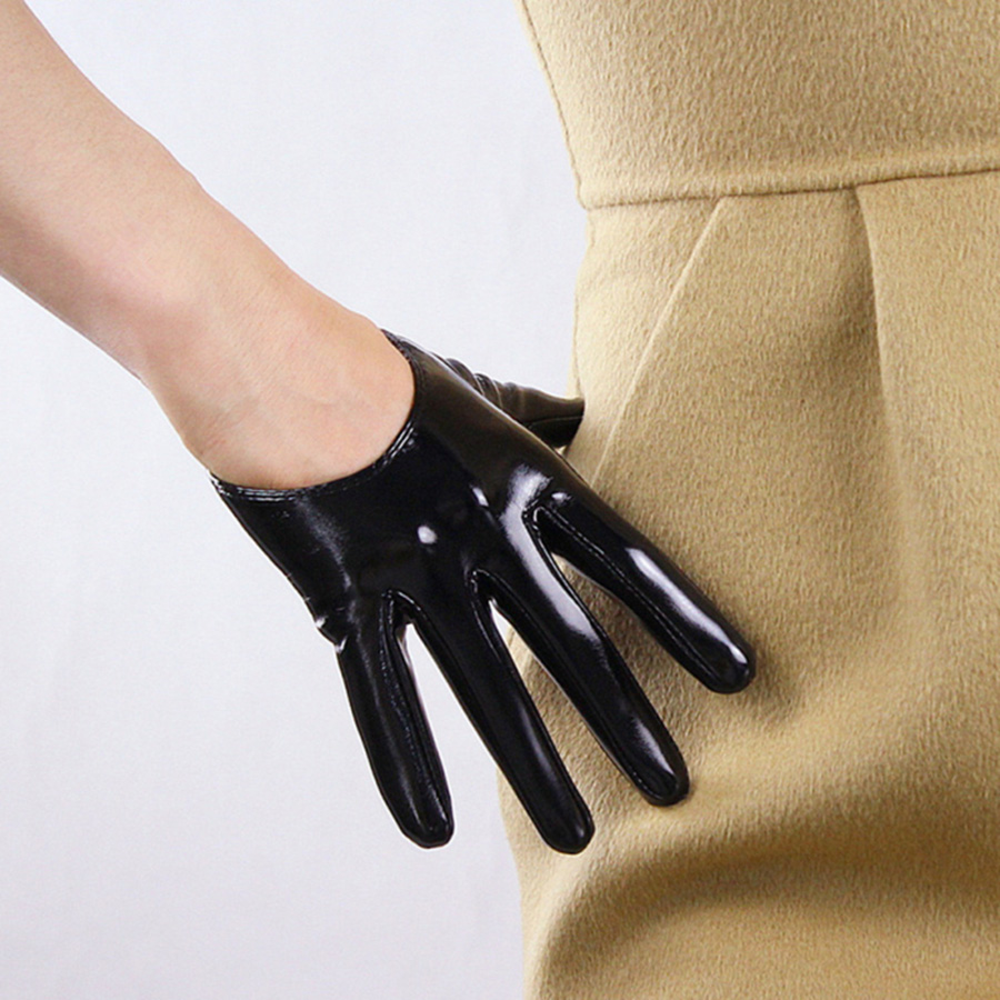 Fashion Elegant Ladies Patent Leather Ultra Short Gloves Simulation Bright Black Multicolor Precision Unlined TB36