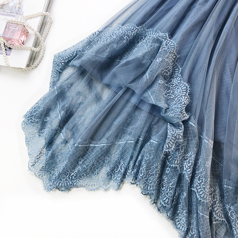 2019 New Spring Little Fairy Skirt Romantic Lace Tulle Skirt Women Mesh Skirt Irregular A Line Big Swing tutu Skirts for Women