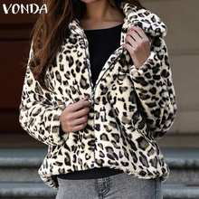 VONDA Women Coats Sexy Leopard Print Zipper Jackets Winter Faux Fur Coat 2019 Au