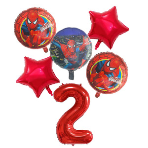 Image 2 - 6pcs/set Spiderman Foil Balloons Avengers Number Balloon Birthday Party Decorations Super hero Boy Kids Toys baby shower Globos