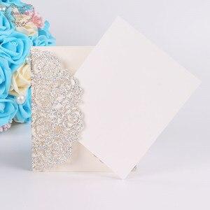 Image 3 - Dualswish 50 개/몫 로맨틱 레이저 컷 꽃 초대 카드 반짝이 종이 결혼식 초대 카드 결혼식 파티 용품