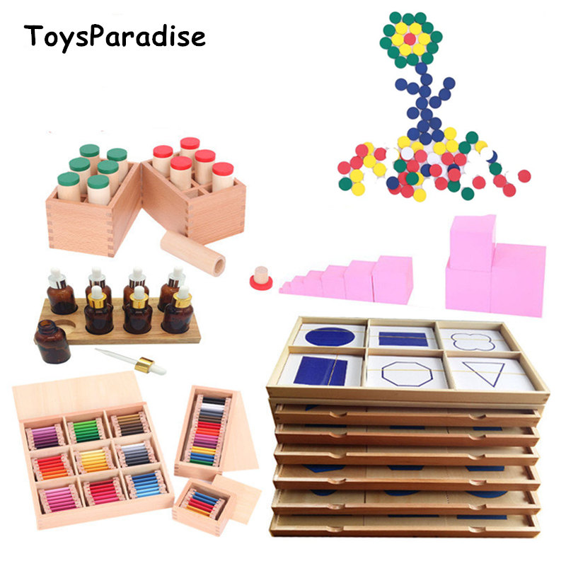 Dropshipping Montessori Sensory Set 23Pcs Professional Socket Cylinder/Pink Tower Wooden Toys For Kids Baby Preschool Teach Aids(China)