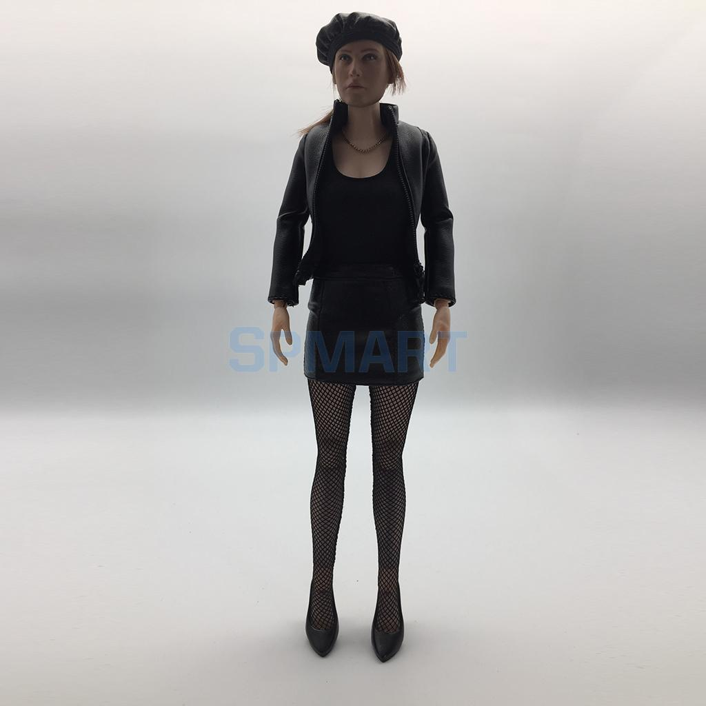 1/6 Black PU Leather Female Jacket Coat Skirt Shoes Cap Suit Women Clothes for 12'' Phicen Action Figure Doll Toys Accessories 1 6 scale figure doll clothes male batman ninja master suit for 12 action figure doll accessories not include doll and other