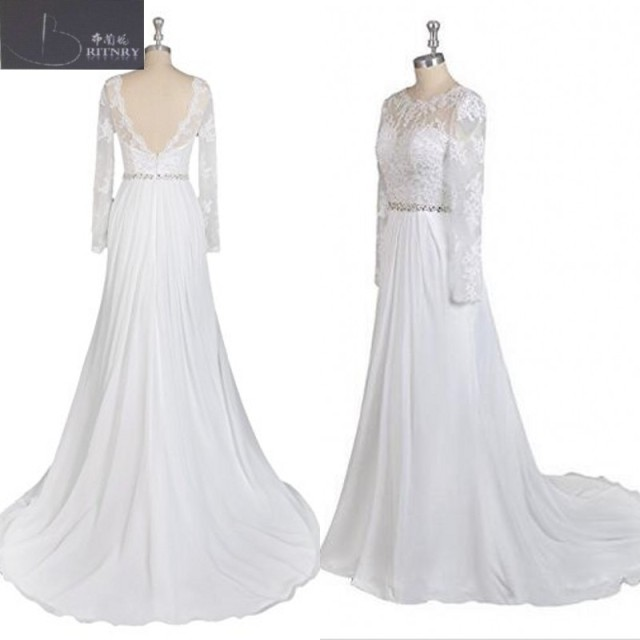 Top Quality Scalloped Neck A Line Low Cut Back Lace And Chiffon Wedding Gowns With Beading