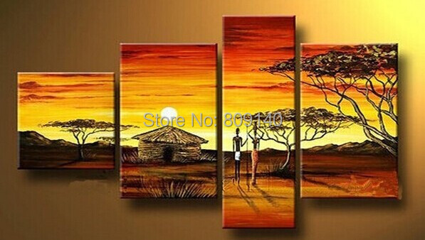 Free Shipping Painting Lady Figure African Landscape Oil Canva High Quality Handmade Home Office Wall Art Decor Artwork