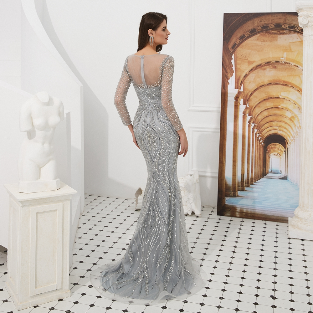 Evening Dresses with Rhinestones 2019 Beading Long Sleeves Silver Gold Boat Neck Mermaid Long Prom Gowns Walk Beside You Formal