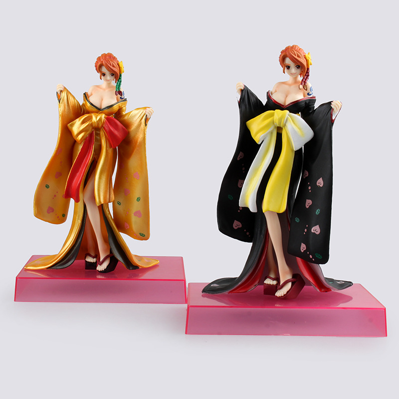 One Piece Action Figure Nami Kimono PVC Figure 21CM One Piece Nami Sexy Black Kimono Model Toy Figurine One Piece Robin Doll