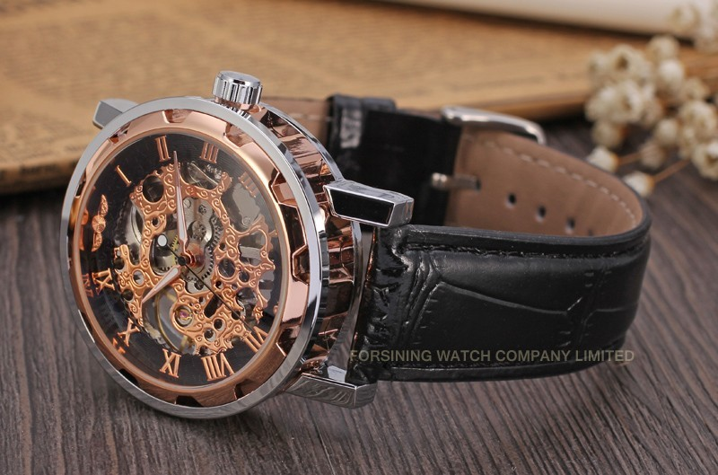 Winner Men Automatic Watch Silver and Rose Case Rose Numerals