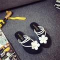 2016 Бесплатная Доставка Лето Последние Моды леди цветок плоские сандалии женские пляжная обувь 6 Цвета Сандалии Женщин HSD16
