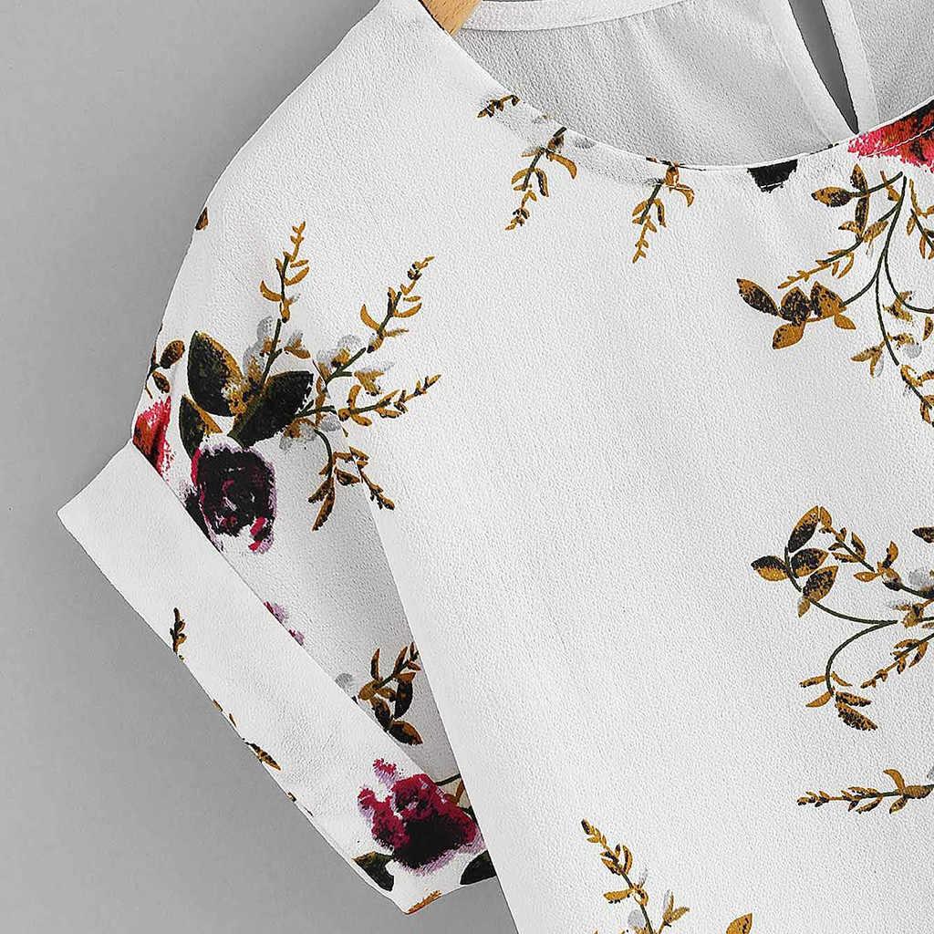 Moda de verano Floral impresión blusa de Jersey damas cuello tee tapas de mujer de las mujeres camisa de manga corta Blusas Femininas ropa