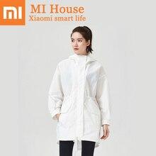 Xiaomi Uleemark długi biały trencz IPX5 wodoodporna odzież chroniąca przed słońcem modna bluza z kapturem wiatrówka