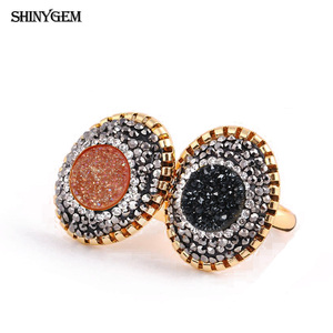 ShinyGem Big Oval Gold CZ Crystal Finger Ring Rose Gold/Silver Druzy Stone Ring Adjustable Natural Stone Wedding Rings For Women
