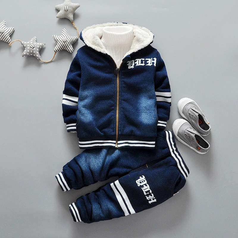 Winter keep Warm babys boys Letter kid's plus velvet long sleeve demin Hooded sweatershirt coat +pant 2pcs clothing set Y2768 europe and the united states long sleeve hooded keep out the cold winter to keep warm and comfortable cotton coat