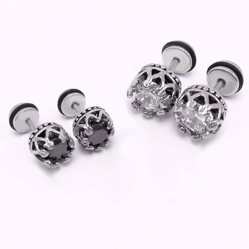ear metal stud jewelry punk item allergy style gift plastic from fashion mens black prevent hot round earrings in men selling