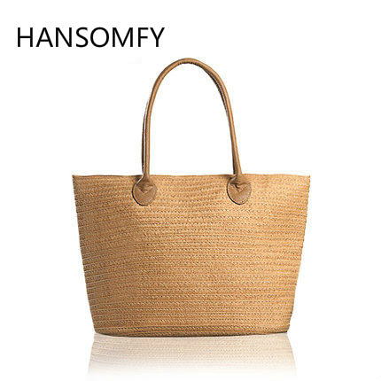 HANSOMFY |Fashion Hand Woven Bag Round Rattan Straw Pearl Bags Bohemia Style Beach Bag Summer Shoulder Bag Tote 2 pieces of clothes on the beach summer flowers package original manual bales of straw bag woven rattan high end shoulder