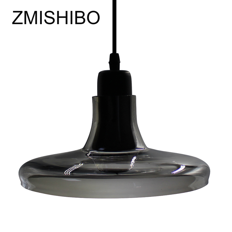 ZMISHIBO Romantic Glass Pendant Lamp 100-240V E27 Socket Smoke Gray Ceiling Surface Mounted Bar Dining Desk Bedroom Plated 5W