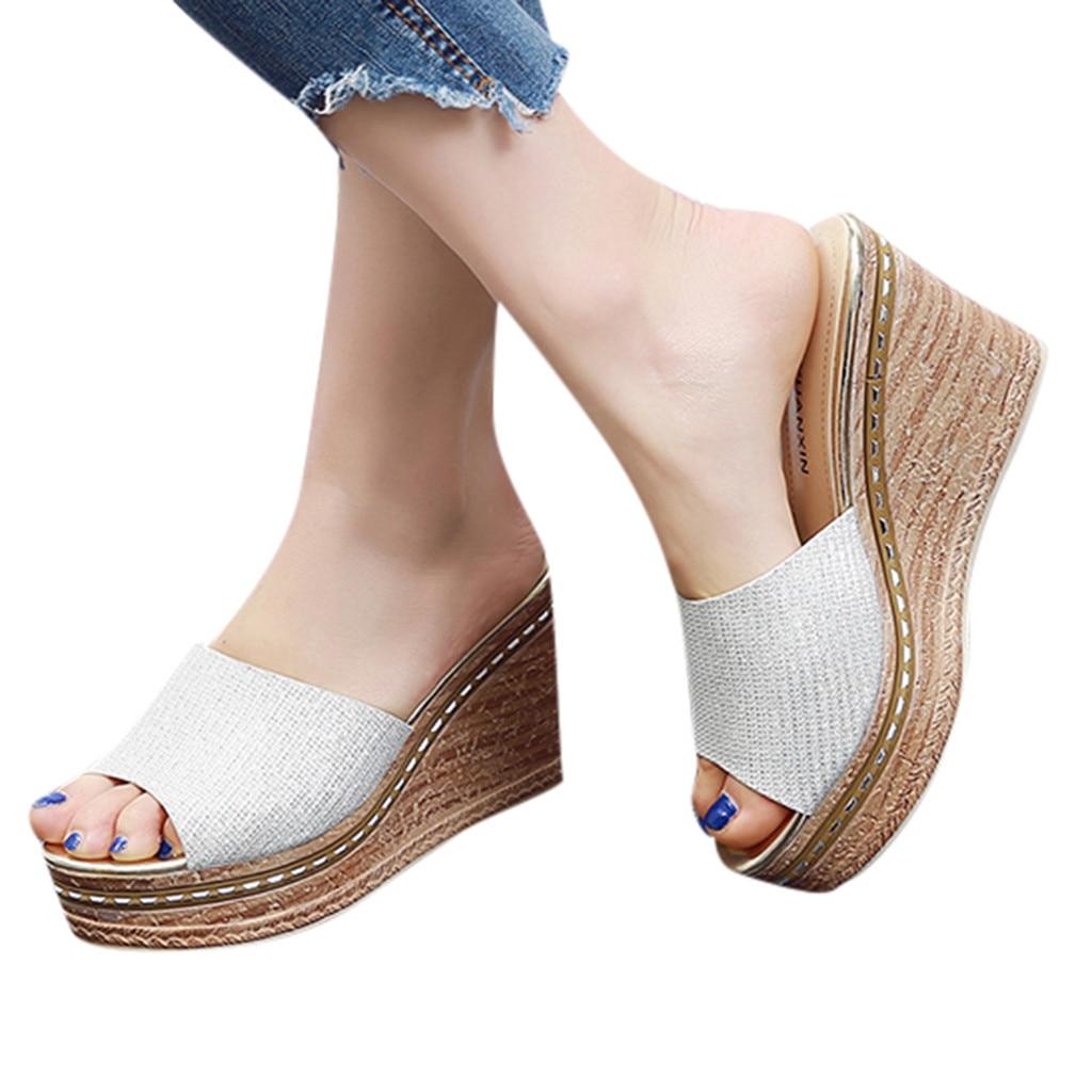 ONTO-MATO Sequin Sandals Women Shoes Summer Wedges Peep-Toe Casual Fashion Ladies Non-Slip