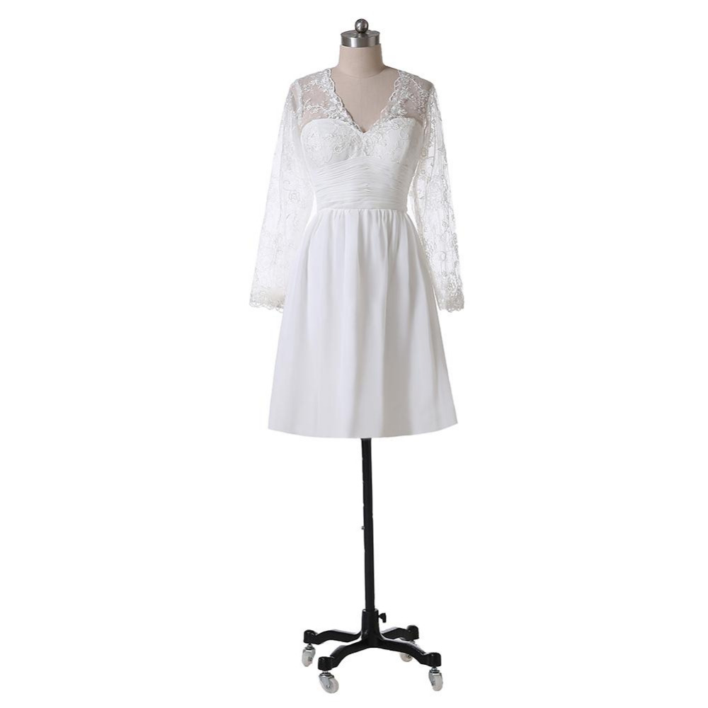 Elegant Long Sleeve Tea Length Wedding Dresses Simple: 2017 New Simple Illusion Long Sleeve Short Wedding Dresses