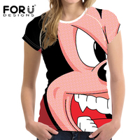 FORUDESIGNS Superme Mickey Ducks Printed Women T Shirts 3D Funny Cartoon Streetwear Tees Casual Shirt Short