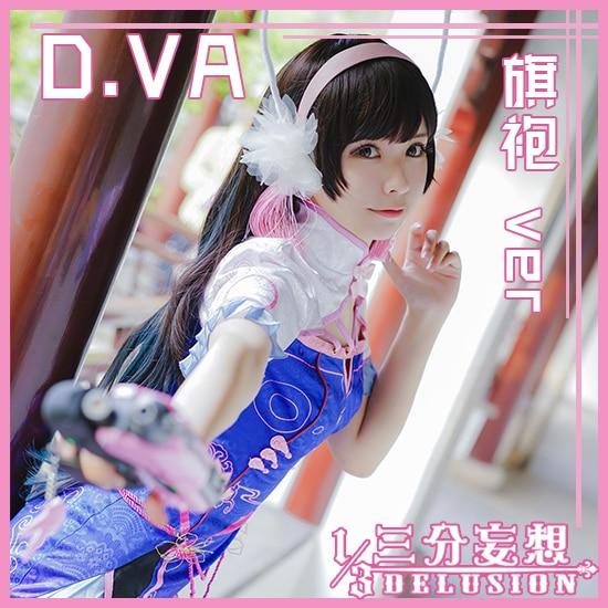 Custome-made OW DVA Chinese cheongsam cosplay costume stage dress Halloween uniform free shipping