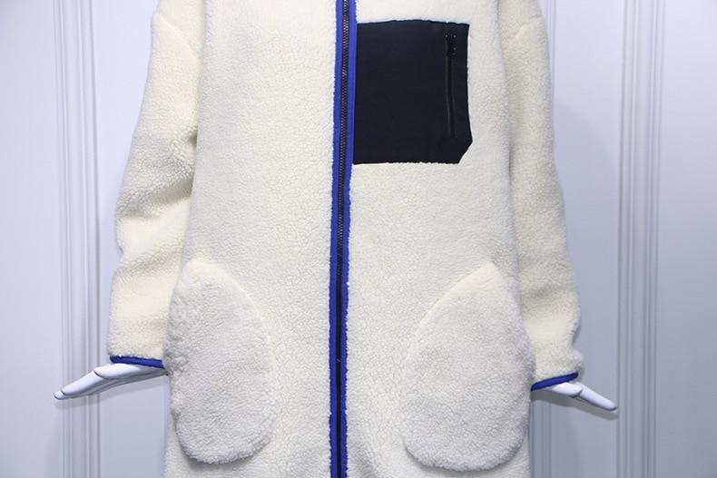 Chaland Blanc D'agneau Vente Le X Laine Fourrure long Chaude Manteau D'hiver Fausse Faux Côté Hiver Pour En ww4fqE