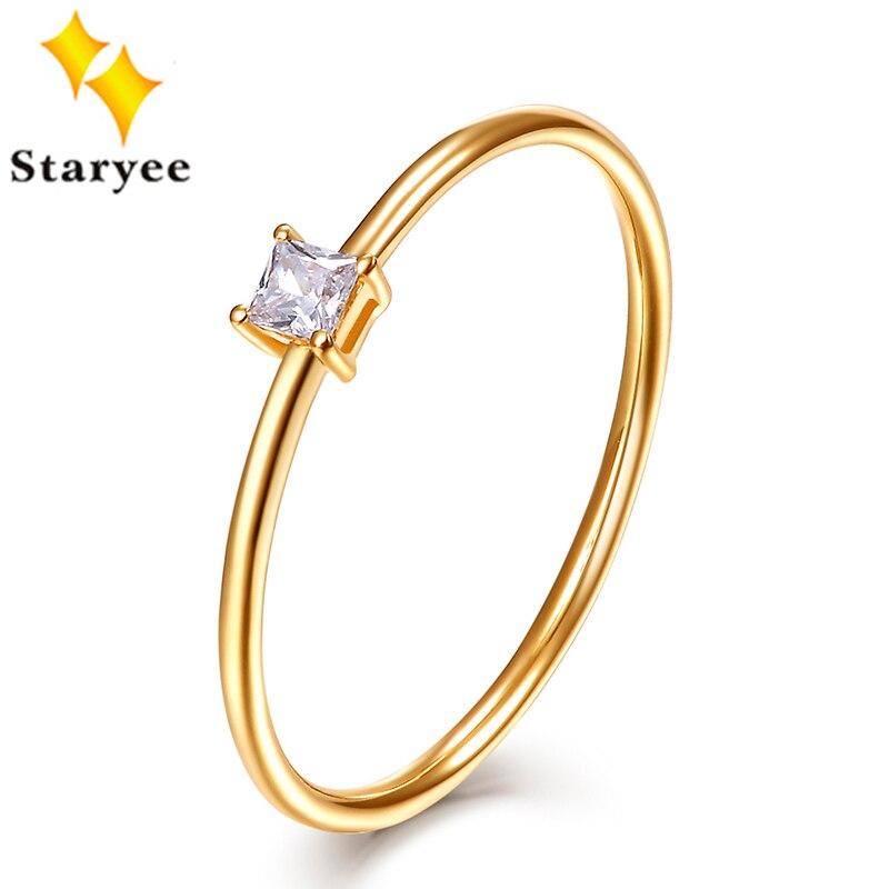 STARYEE Certificada 0.05CT VS H Anéis de Noivado Da Princesa Corte Diamante Natural Real 18 Karat 750 Anel de Ouro Amarelo Para As Mulheres casamento