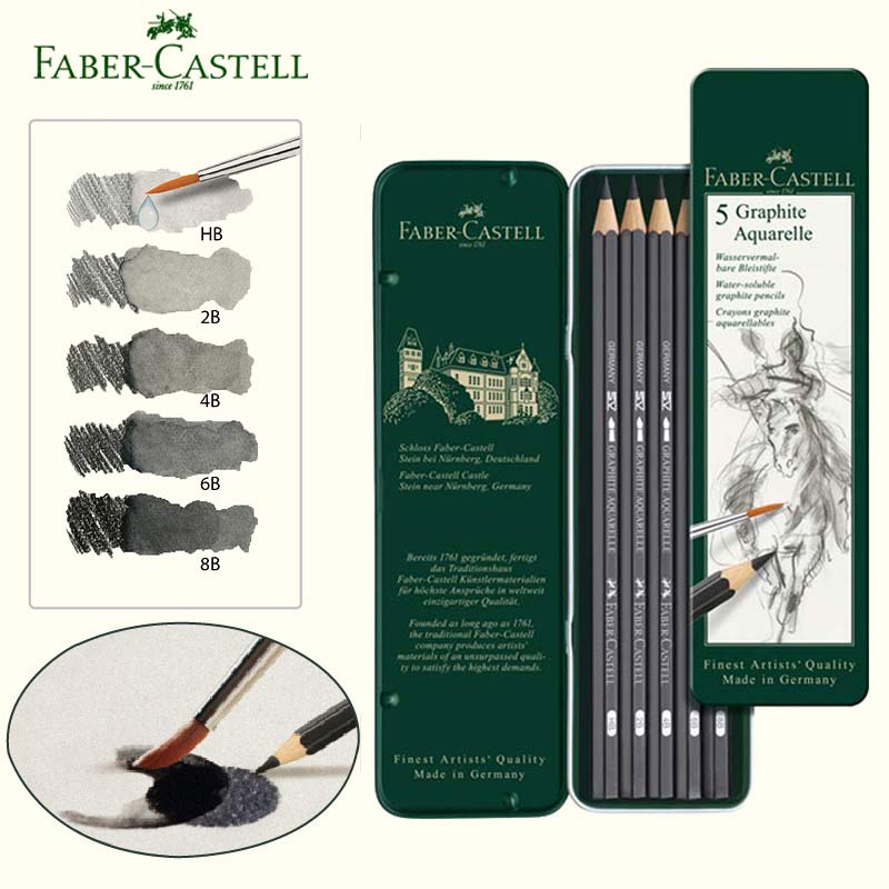 Faber-Castell Graphite Aquarelle Water-soluble Sketches Pencils Set Of 5 With Brush Professional Drawing Kit HB 2B 4B 6B 8B